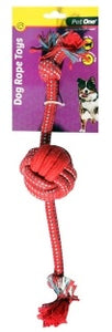 PET ONE DOG TOY ROPE WITH 1 ROPE BALL RED/BLUE 38CM