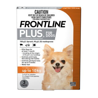 FRONTLINE PLUS DOG UP TO10KG GOLD 3PK