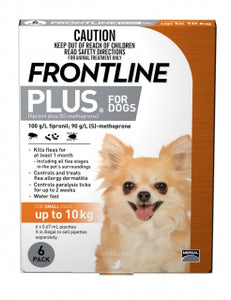 FRONTLINE PLUS DOG UP TO 10KG GOLD 6PK