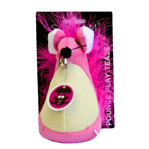 SCREAM FATTY MOUSE CAT TOY PINK 13CM