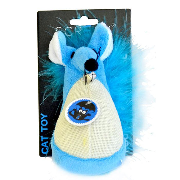 SCREAM FATTY MOUSE CAT TOY LOUD BLUE