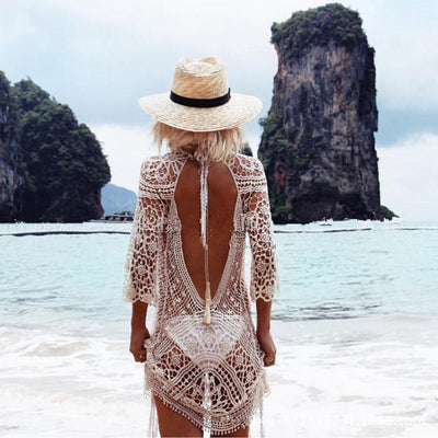 Knit Backless Beach Cover Up