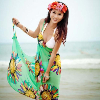 Floral Chiffon Bikini Cover Up