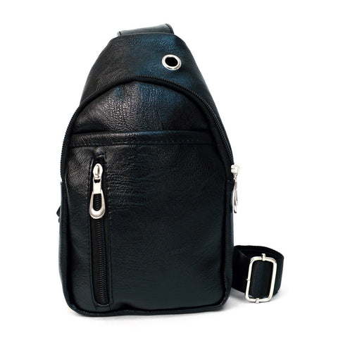 Small Black PU Leather Crossbody Sling Bag