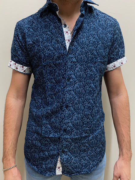BLUE FLORAL | SHORT SLEEVE BUTTON DOWN SHIRT