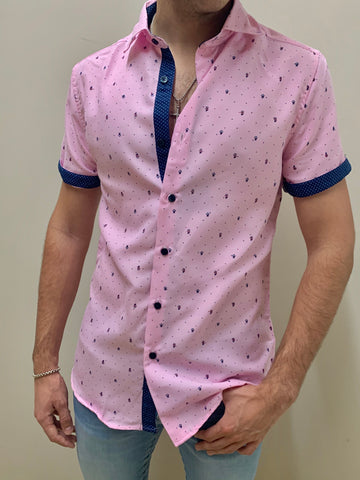 PINK | SHORT SLEEVE BUTTON DOWN SHIRT