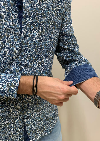 BLUE FLORAL | LONG SLEEVE BUTTON DOWN SHIRT