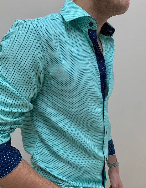 BLUE POLKA DOTS  | LONG SLEEVE BUTTON DOWN SHIRT