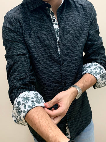 BLACK FLORAL  | LONG SLEEVE BUTTON DOWN SHIRT