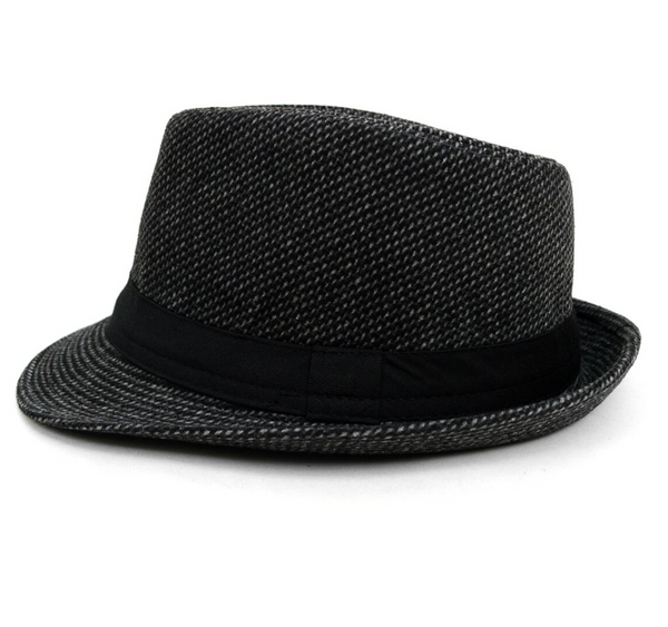 Trilby Fedora Hat with Gray Dots & Black Band Trim