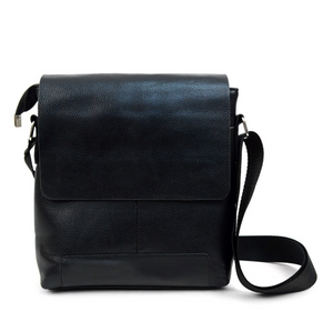 Leather Black Crossbody Messenger Bag