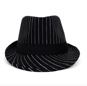 Black Trilby Fedora Hat with White Pinstripes & Black Band Trim