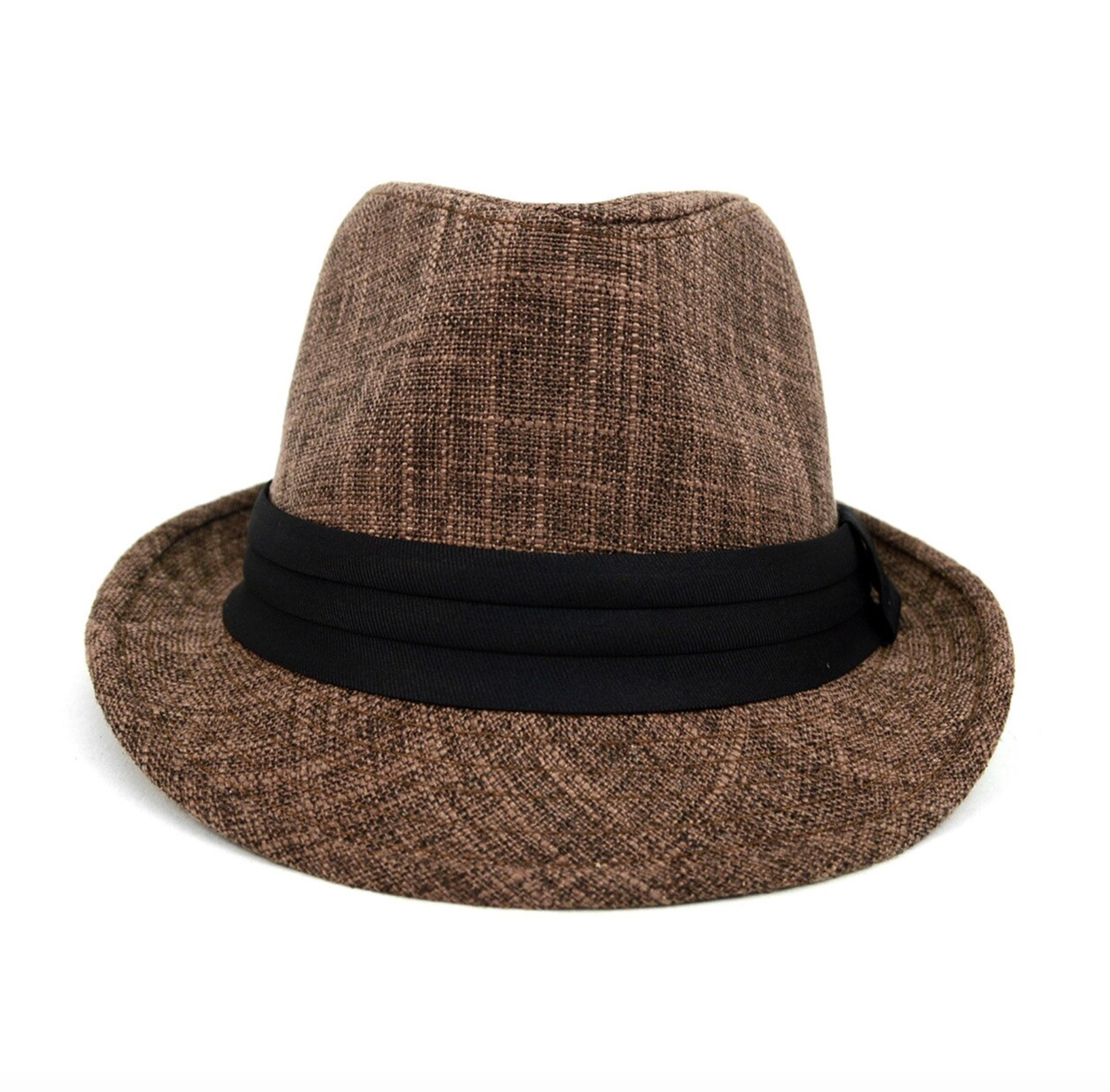 Brown Trilby Fedora Hat with Black Band Trim