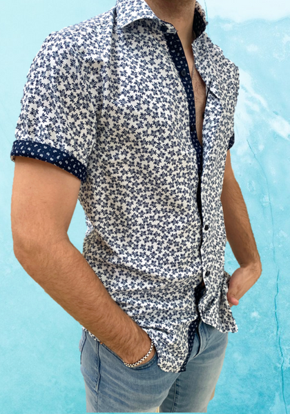 WHITE FLORAL | SHORT SLEEVE BUTTON DOWN SHIRT