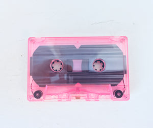 Actual tape will be pink and album titles will be hand drawn