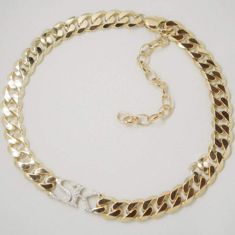 Chunky Gold Personalised Chain Choker With CZ