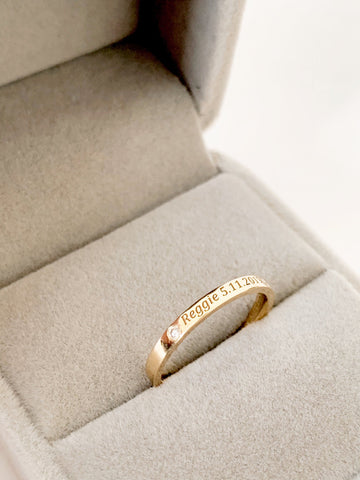 Name with Birthdate and Diamond Ring