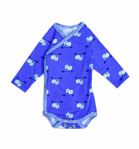 Newborn Baby Wickelbody Royal-blau mit Faultier Digitaldruck