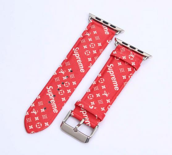 LL leather strap, Apple watch strap, Supreme red band, Apple Watch 42mm/38mm, V03