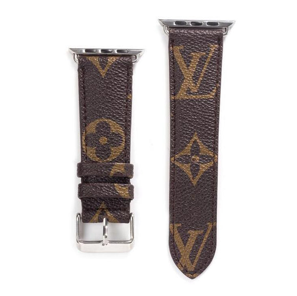 LL leather strap, Apple watch strap, brown Monogram band, Apple Watch 42 mm/ 38 mm,
