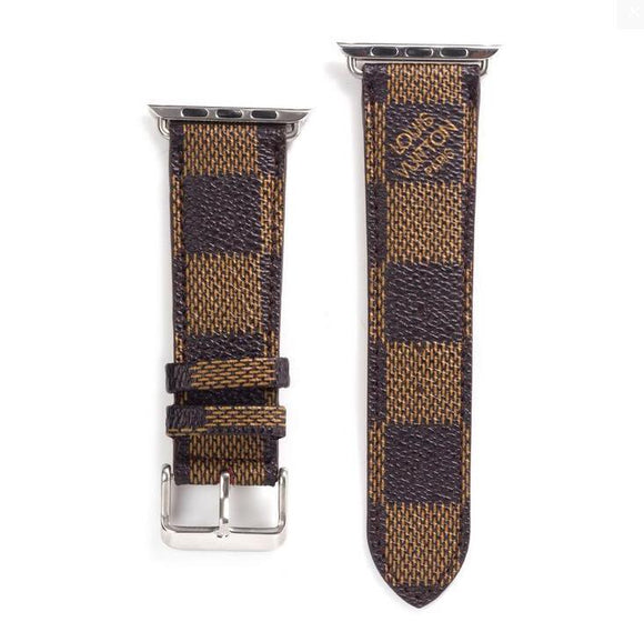 LL leather strap, Apple watch strap, brown Damier band, Apple Watch 42 mm/38 mm