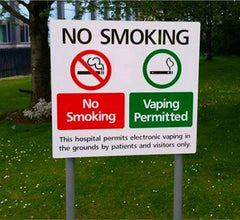 Vaping allowed in hospital sign