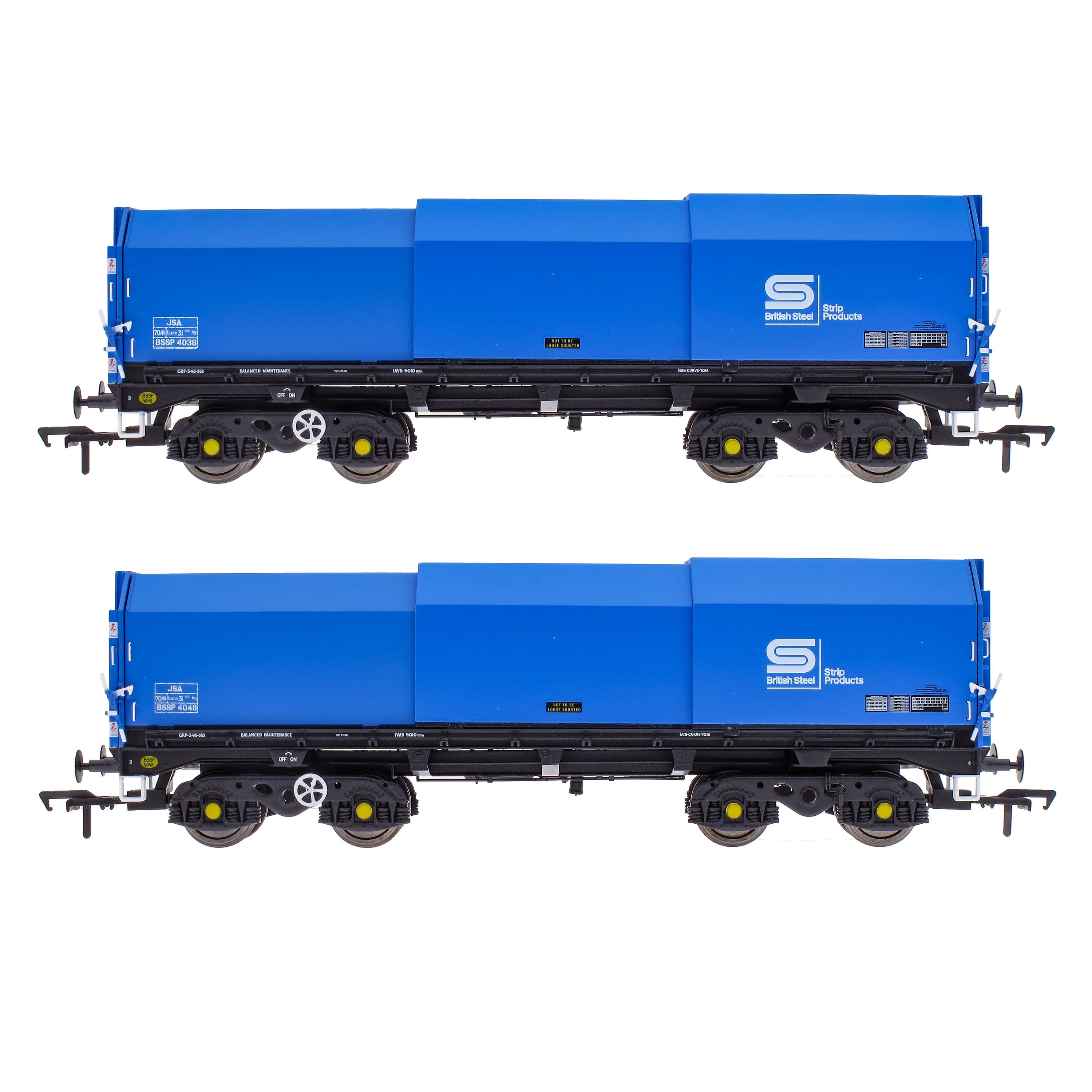 JSA Bogie Covered Steel Wagon Twin Pack - British Steel 2