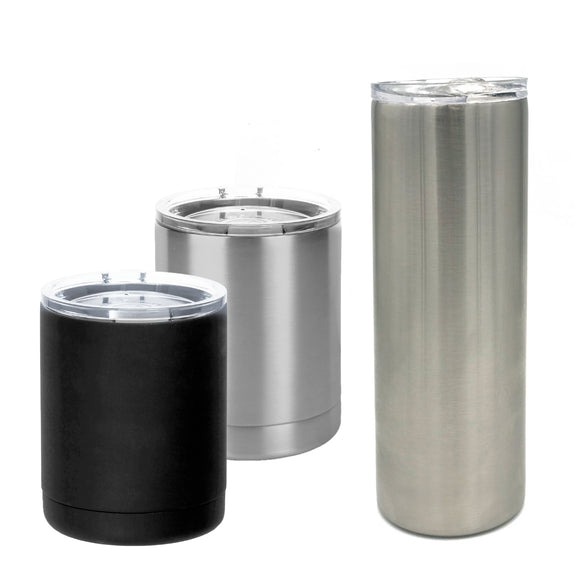 Straight sided vertical stainless steel bulk tumblers wholesale logo laser etched