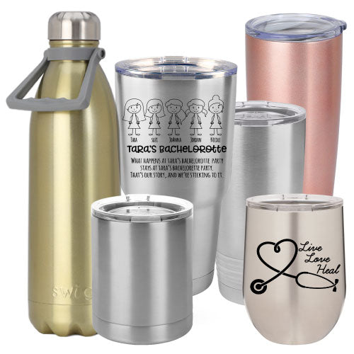 56f99ec767 Silver Rose Gold Personalized Insulated Stainless Steel Tumbler Wine – Bulk  Tumblers