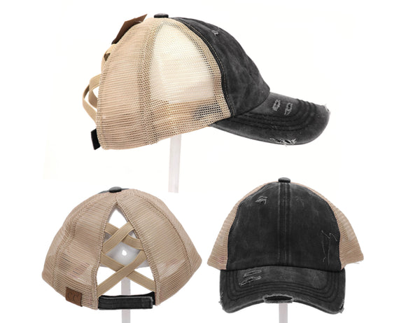 Authentic C.C. Beanie CrissCross High Ponytail Washed Distressed Denim & Mesh Trucker Hat / Baseball Caps