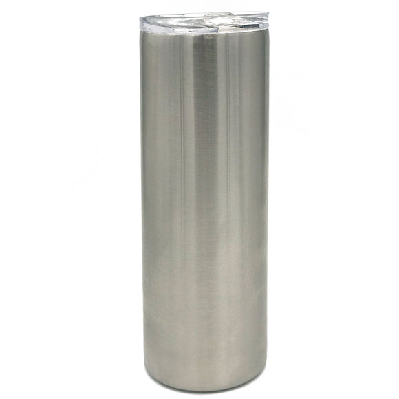 Case of 25 - Blank 20 oz Straight-Up Skinny Stainless Steel Insulated Blank Tumblers with Slide Lid and Straw
