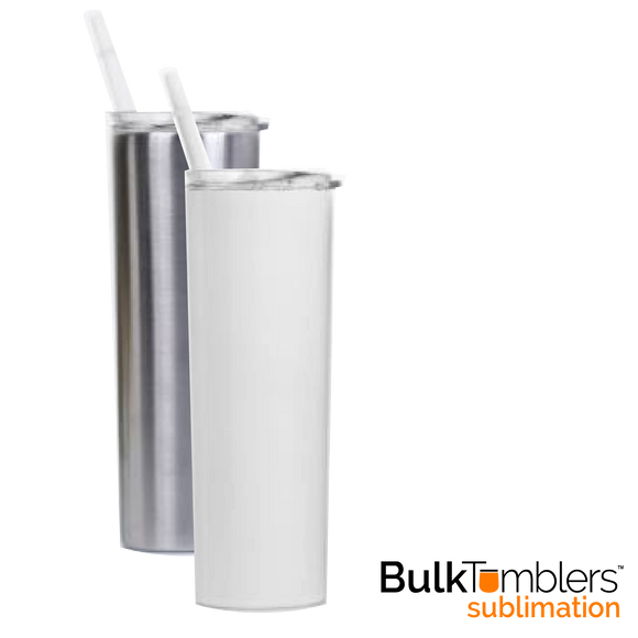 20 oz SUBLIMATION Straight-Up Skinny Stainless Steel Insulated Blank Tumblers with Lid and Straw