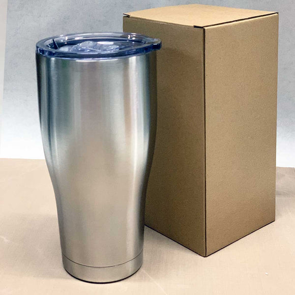 Case of 25 - 30 oz Modern Curve Stainless Steel Insulated Blank Tumblers with Slide Lid