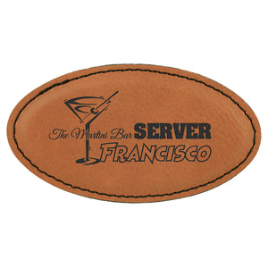 Oval Name Badge - Laser Engraved Faux Leather