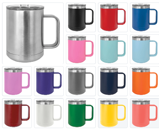 Blank 15 oz  Stainless Steel Insulated  Coffee Mug Powder Coated Double Wall Steel Insulated