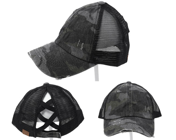 Authentic Black Camouflage CC Beanie CrissCross High Ponytail Trucker Hat Camo Distressed Wash Denim Baseball Hat