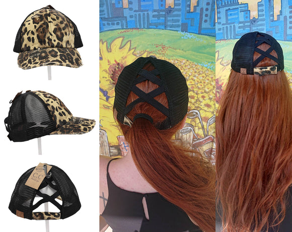 Authentic Leopard Print CC Beanie CrissCross High Ponytail Messy Bun Distressed Wash Denim Trucker Hat