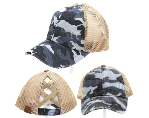 Authentic Blue Camouflage CC Beanie CrissCross High Ponytail Trucker Hat Camo Distressed Wash Denim