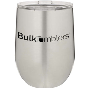 12 oz Wine Tumbler with Logo Laser Engraved on Insulated Stainless Steel Wine Tumblers + Lid