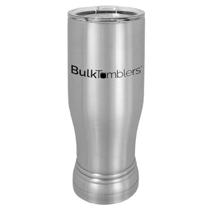 20 oz Promo Personalized Beer Pilsner Glass Tumbler w Logo Laser Engraved on Insulated Stainless Steel + Lid