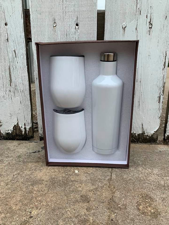 SUBLIMATION WHITE Wine bottle and 2 glass gift set