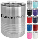 10 oz Lowball Highball Glass w Logo Laser Engraved on Insulated Stainless Steel Rocks Tumblers + Lid