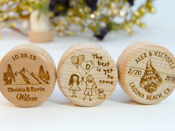 Mountain, Beach & Tree Wedding Wine Stoppers