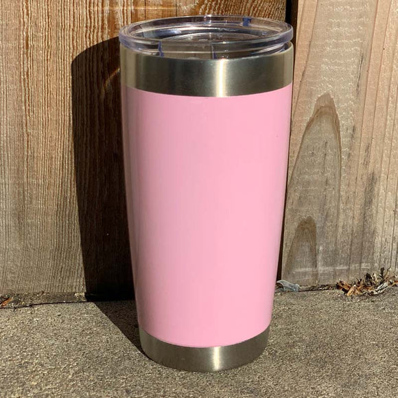 20 oz Specialty Coating - Light Pink Powder Coat Stainless Steel Double Wall Insulated Tumbler, Laser Engraved with Logo or Blank