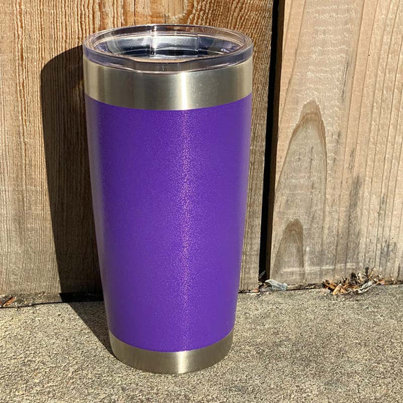 Specialty Coating - Purple River Powder Coat Stainless Steel Double Wall Insulated 20 oz Tumbler, Laser Engraved with Logo or Blank