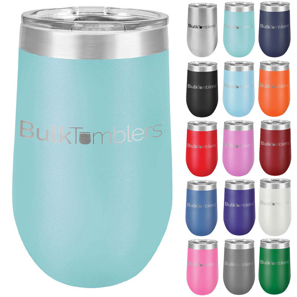 16 oz Wine Tumbler with Logo Laser Engraved on Insulated Stainless Steel Wine Tumblers + Lid