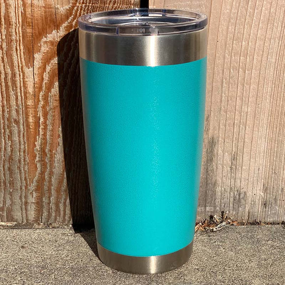 Specialty Coating - Turquoise Teal River Powder Coat Stainless Steel Double Wall Insulated 20 oz Tumbler, Laser Engraved with Logo or Blank