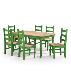Jay 7 Piece Solid Wood Dining Set In Green Wash