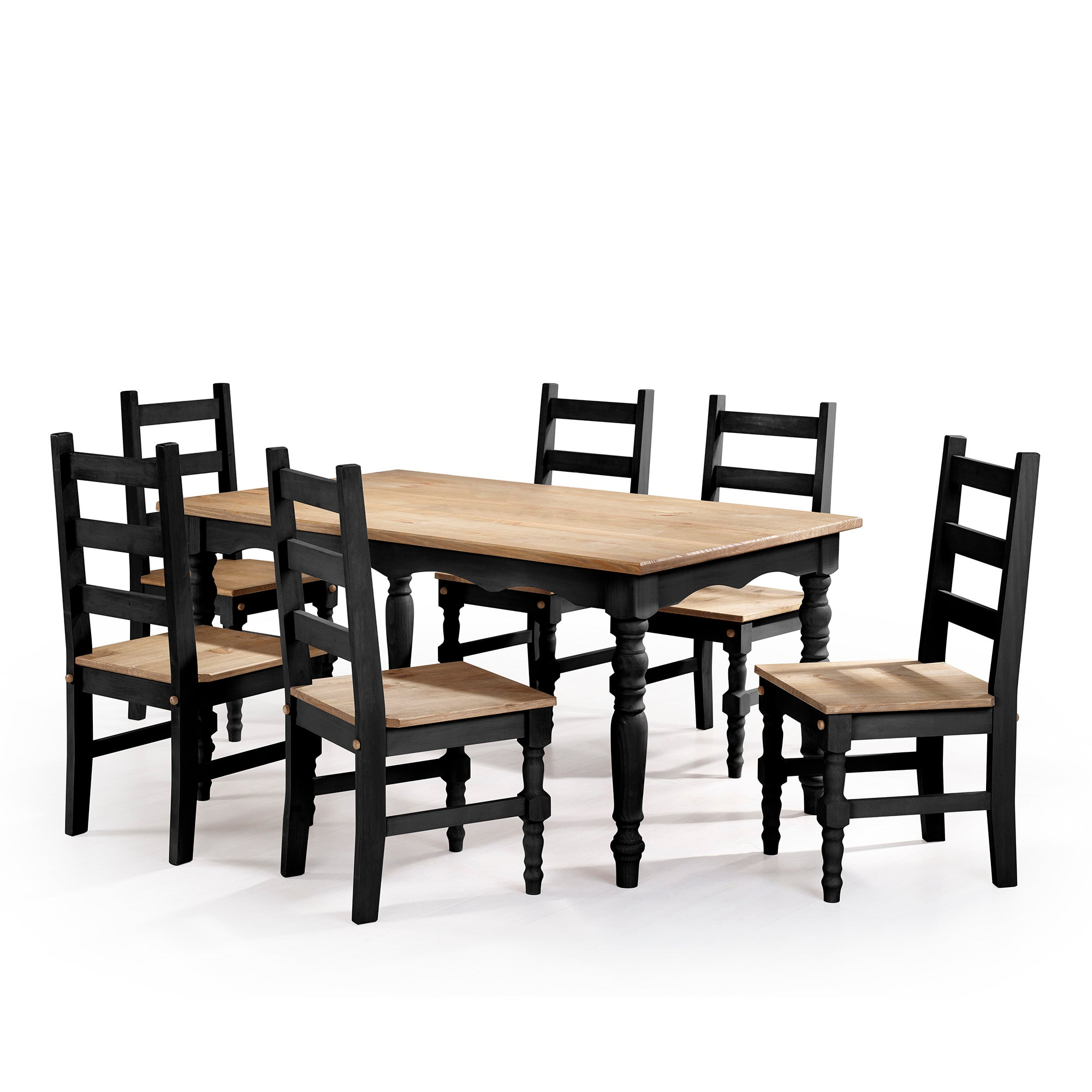 Jay 7 Piece Solid Wood Dining Set In Black Wash