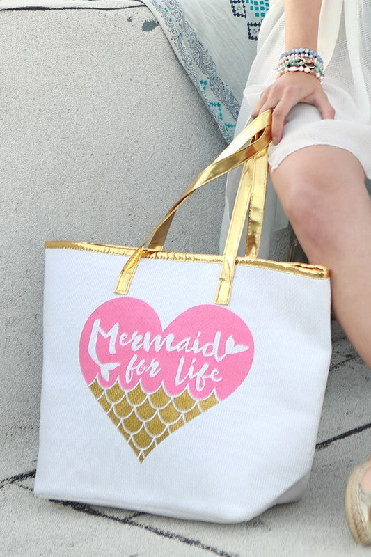 Mermaid Gold Tote, Zippered